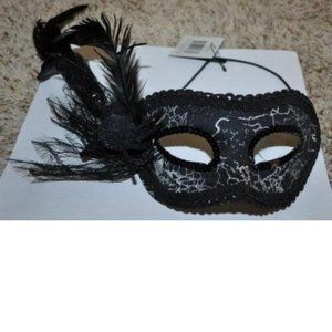 Masquerade Black Spider Sequined Feather Eye Mask